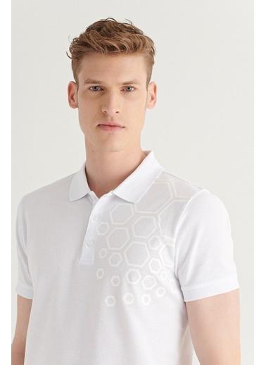 Avva AVVA Erkek Pembe Polo Yaka Pano Baskılı T-Shirt A11Y1149 Beyaz